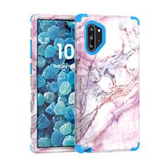 Custodia Silicone e Plastica Opaca Cover Fronte e Retro 360 Gradi U01 per Samsung Galaxy Note 10 Plus 5G Blu
