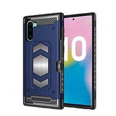 Custodia Silicone e Plastica Opaca Cover Magnetico per Samsung Galaxy Note 10 Blu