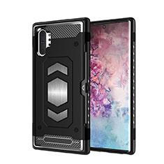 Custodia Silicone e Plastica Opaca Cover Magnetico per Samsung Galaxy Note 10 Plus Nero