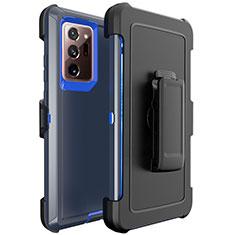 Custodia Silicone e Plastica Opaca Cover N04 per Samsung Galaxy Note 20 Ultra 5G Blu e Nero