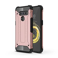 Custodia Silicone e Plastica Opaca Cover per LG V50 ThinQ 5G Oro Rosa