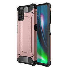 Custodia Silicone e Plastica Opaca Cover per Motorola Moto G9 Plus Oro Rosa