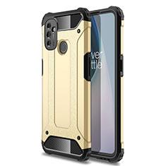 Custodia Silicone e Plastica Opaca Cover per OnePlus Nord N100 Oro