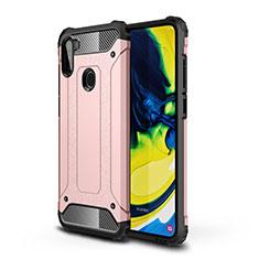 Custodia Silicone e Plastica Opaca Cover per Samsung Galaxy A11 Oro Rosa