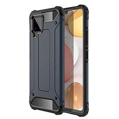 Custodia Silicone e Plastica Opaca Cover per Samsung Galaxy A42 5G Blu Notte