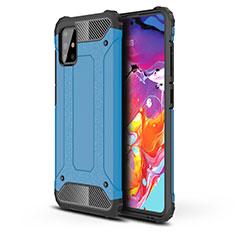 Custodia Silicone e Plastica Opaca Cover per Samsung Galaxy A51 4G Cielo Blu
