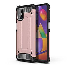 Custodia Silicone e Plastica Opaca Cover per Samsung Galaxy M31s Oro Rosa