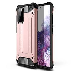 Custodia Silicone e Plastica Opaca Cover per Samsung Galaxy S20 FE 5G Oro Rosa