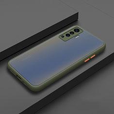 Custodia Silicone e Plastica Opaca Cover per Vivo X50 5G Ciano
