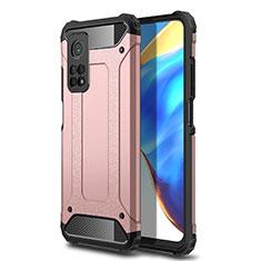 Custodia Silicone e Plastica Opaca Cover per Xiaomi Mi 10T 5G Oro Rosa
