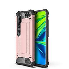 Custodia Silicone e Plastica Opaca Cover per Xiaomi Mi Note 10 Oro Rosa