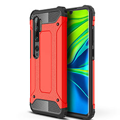 Custodia Silicone e Plastica Opaca Cover per Xiaomi Mi Note 10 Rosso
