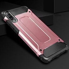 Custodia Silicone e Plastica Opaca Cover R01 per Samsung Galaxy A70 Oro Rosa