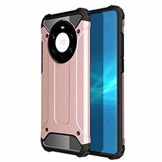 Custodia Silicone e Plastica Opaca Cover U01 per Huawei Mate 40 Pro+ Plus Oro Rosa