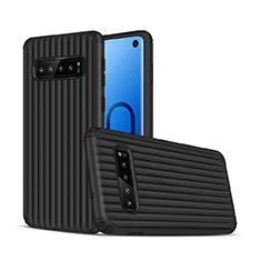 Custodia Silicone e Plastica Opaca Cover U01 per Samsung Galaxy S10 Nero