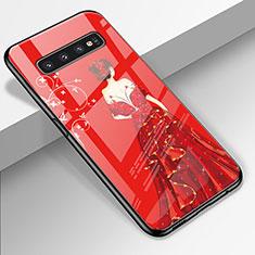 Custodia Silicone Gel Laterale Abito Ragazza Specchio Cover K01 per Samsung Galaxy S10 Rosso