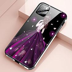 Custodia Silicone Gel Laterale Abito Ragazza Specchio Cover per Apple iPhone 12 Pro Max Viola
