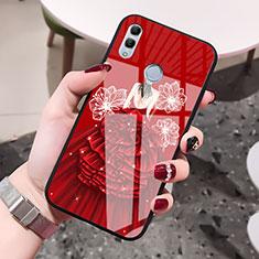 Custodia Silicone Gel Laterale Abito Ragazza Specchio Cover per Huawei Honor 10 Lite Rosso