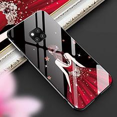Custodia Silicone Gel Laterale Abito Ragazza Specchio Cover per Huawei Mate 20 Pro Multicolore