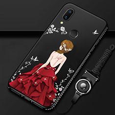 Custodia Silicone Gel Laterale Abito Ragazza Specchio Cover per Huawei P Smart Z Rosso e Nero