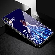 Custodia Silicone Gel Laterale Abito Ragazza Specchio Cover per Huawei P20 Nero