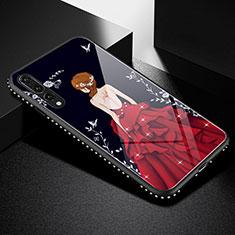 Custodia Silicone Gel Laterale Abito Ragazza Specchio Cover per Huawei P20 Pro Rosso e Nero