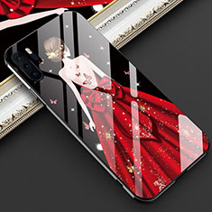 Custodia Silicone Gel Laterale Abito Ragazza Specchio Cover per Huawei P30 Pro Rosso
