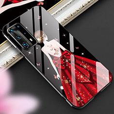 Custodia Silicone Gel Laterale Abito Ragazza Specchio Cover per Huawei P40 Pro+ Plus Rosso