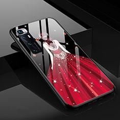 Custodia Silicone Gel Laterale Abito Ragazza Specchio Cover per Xiaomi Mi 10 Ultra Rosso