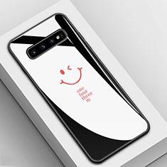Custodia Silicone Gel Laterale Fantasia Modello Specchio Cover K01 per Samsung Galaxy S10 Nero