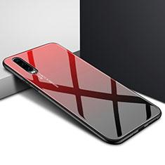 Custodia Silicone Gel Laterale Fantasia Modello Specchio Cover K04 per Huawei P30 Rosso