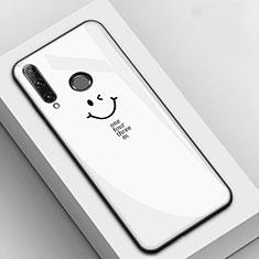 Custodia Silicone Gel Laterale Fantasia Modello Specchio Cover per Huawei Enjoy 9s Bianco