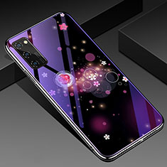 Custodia Silicone Gel Laterale Fantasia Modello Specchio Cover per Huawei Honor View 30 Pro 5G Viola