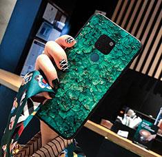 Custodia Silicone Gel Laterale Fantasia Modello Specchio Cover per Huawei Mate 20 Verde