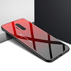 Custodia Silicone Gel Laterale Fantasia Modello Specchio Cover per OnePlus 8 Pro Rosso