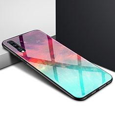 Custodia Silicone Gel Laterale Fantasia Modello Specchio Cover per Samsung Galaxy A70 Ciano