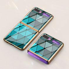 Custodia Silicone Gel Laterale Fantasia Modello Specchio Cover per Samsung Galaxy Z Flip Ciano