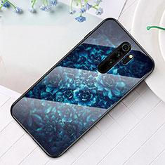 Custodia Silicone Gel Laterale Fantasia Modello Specchio Cover per Xiaomi Redmi Note 8 Pro Blu