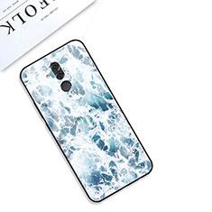 Custodia Silicone Gel Laterale Fantasia Modello Specchio Cover S01 per Huawei Mate 20 Lite Blu