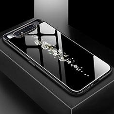 Custodia Silicone Gel Laterale Fantasia Modello Specchio Cover S01 per Samsung Galaxy A80 Nero