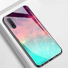 Custodia Silicone Gel Laterale Fantasia Modello Specchio Cover S01 per Samsung Galaxy Note 10 5G Ciano