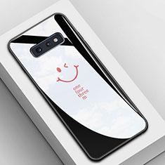 Custodia Silicone Gel Laterale Fantasia Modello Specchio Cover S01 per Samsung Galaxy S10e Nero