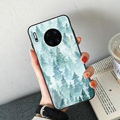 Custodia Silicone Gel Laterale Fantasia Modello Specchio Cover S02 per Huawei Mate 30 5G Cielo Blu