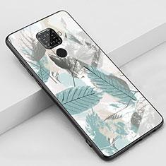 Custodia Silicone Gel Laterale Fantasia Modello Specchio Cover S02 per Huawei Mate 30 Lite Ciano