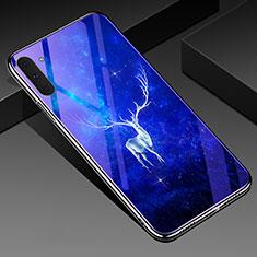 Custodia Silicone Gel Laterale Fantasia Modello Specchio Cover S02 per Samsung Galaxy Note 10 Blu
