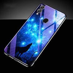 Custodia Silicone Gel Laterale Fantasia Modello Specchio Cover S04 per Huawei Honor 10 Lite Blu