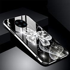 Custodia Silicone Gel Laterale Fiori Specchio Cover C01 per Huawei Mate 30 Nero