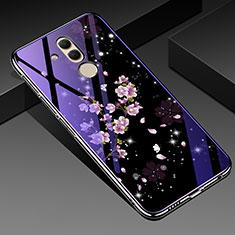 Custodia Silicone Gel Laterale Fiori Specchio Cover H01 per Huawei Mate 20 Lite Viola
