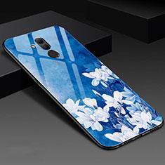 Custodia Silicone Gel Laterale Fiori Specchio Cover H02 per Huawei Mate 20 Lite Blu