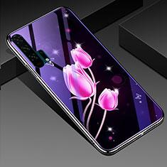 Custodia Silicone Gel Laterale Fiori Specchio Cover K02 per Huawei Honor 20 Pro Rosa Caldo